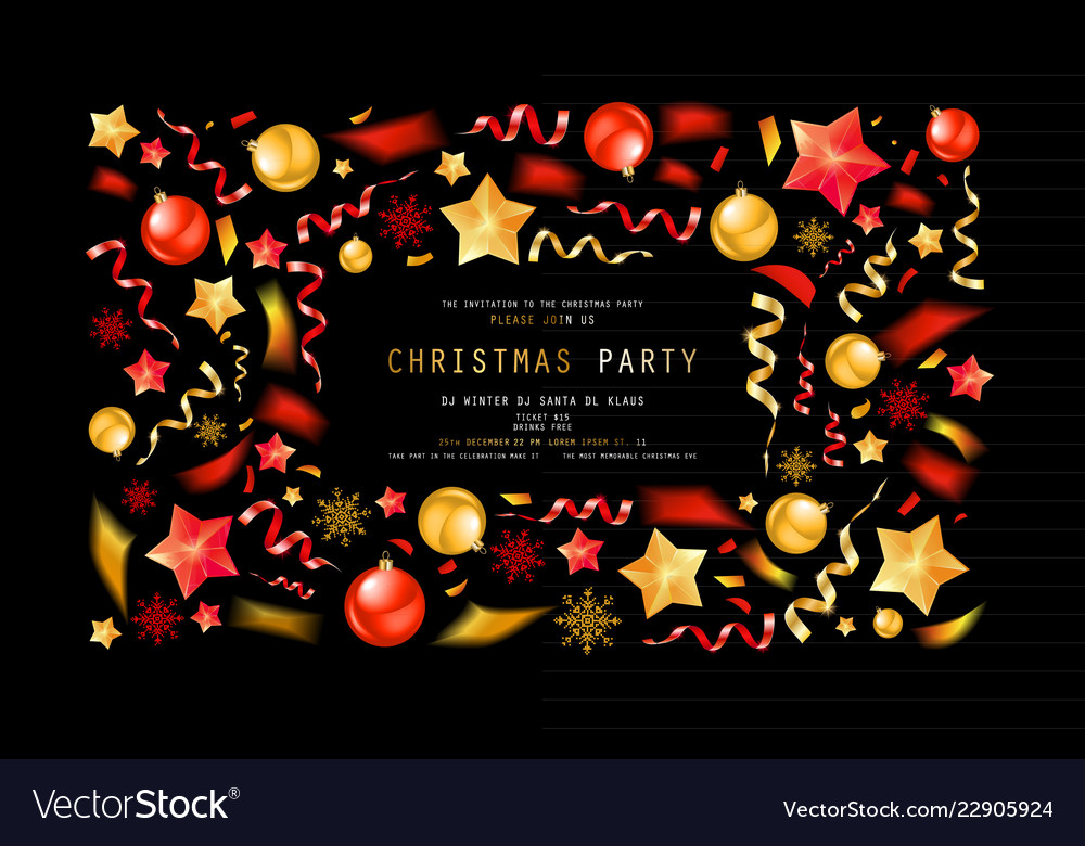 christmas party or dinner invitation royalty free vector