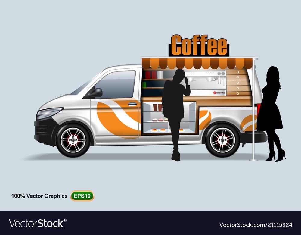 Coffee maker vehicle-van template editable layout