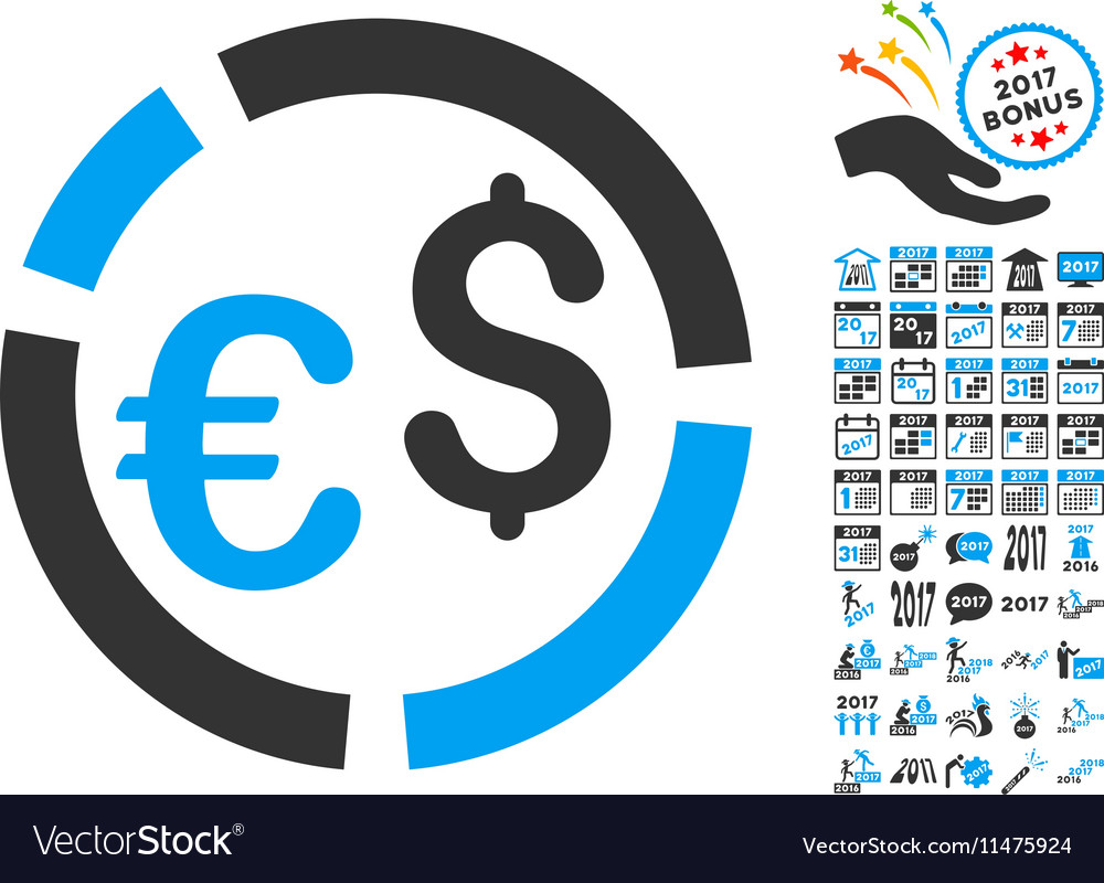 Currency Diagram Icon With 2017 Year Bonus