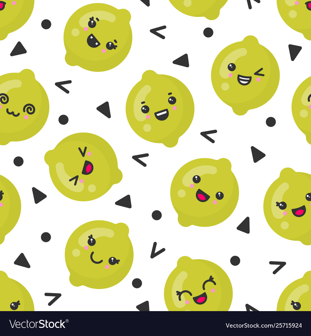 Cute smiling lime fruits seamless pattern
