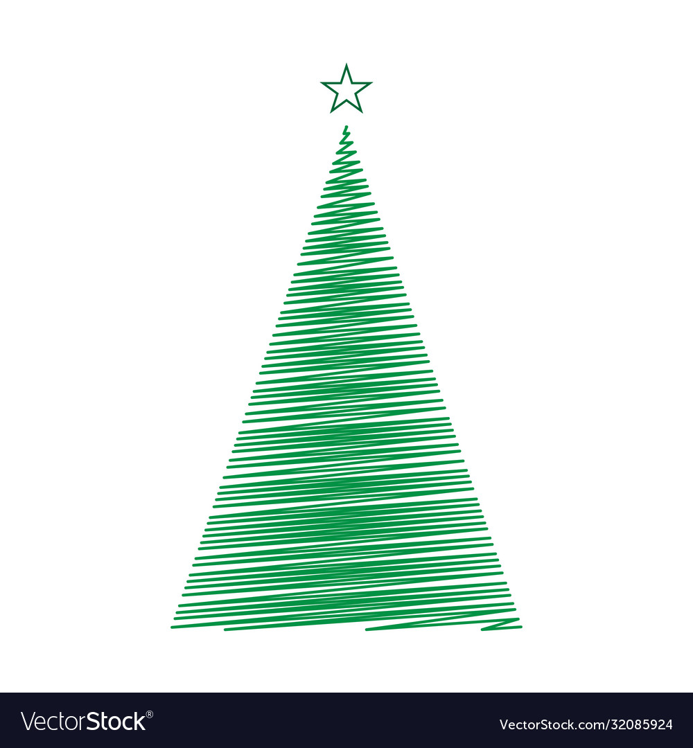 Hand drawn christmas tree template for your design