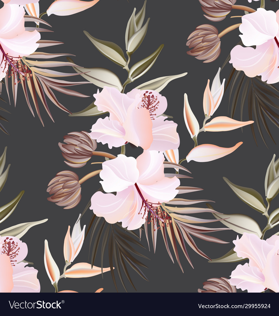 Hibiscus summer seamless pattern exotic plant