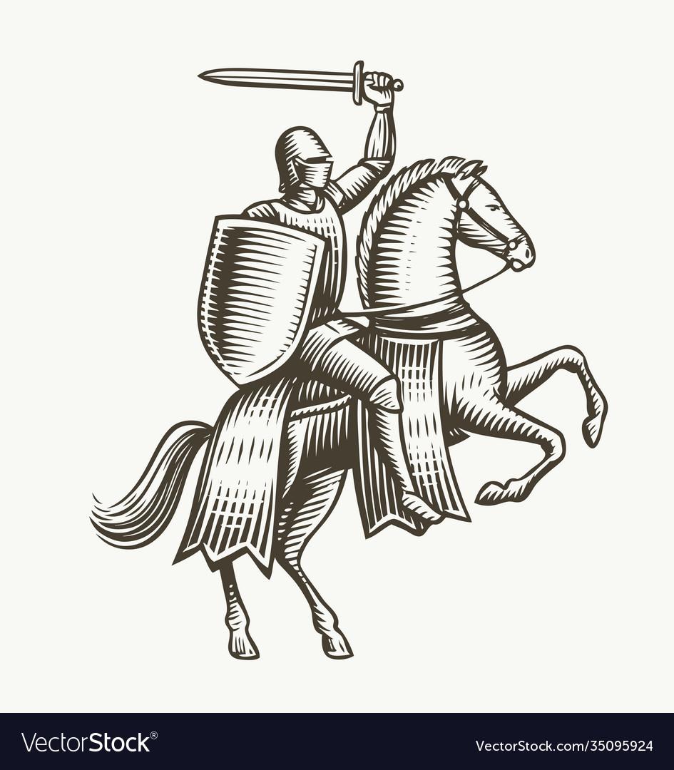 Knight on horseback medieval heraldry symbol