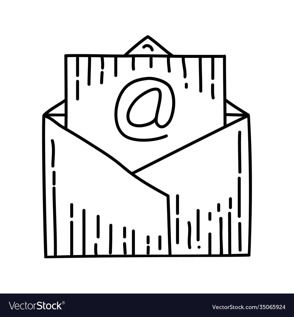 Mail icon doodle hand drawn or outline icon style