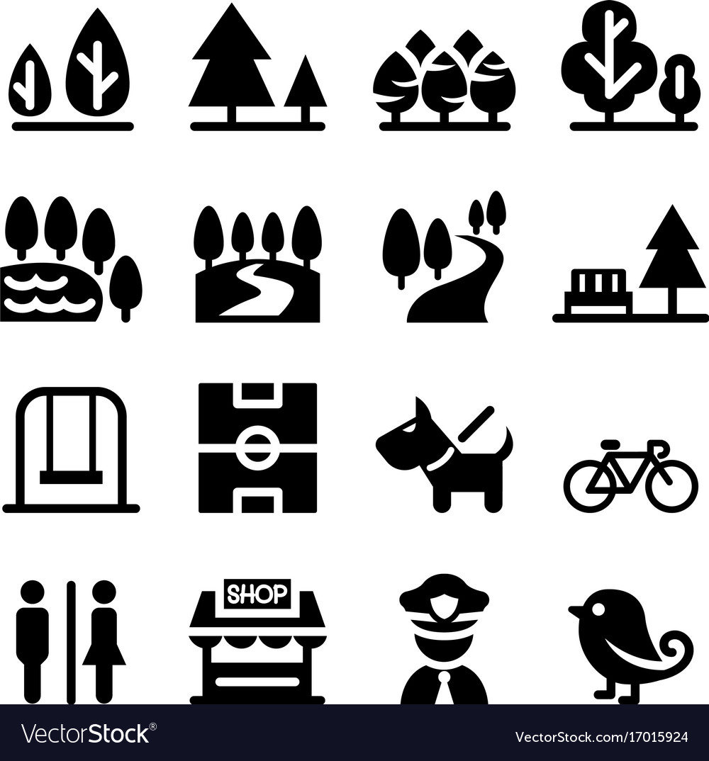 Park Public Park National Park Garden Icon Set Vector Image