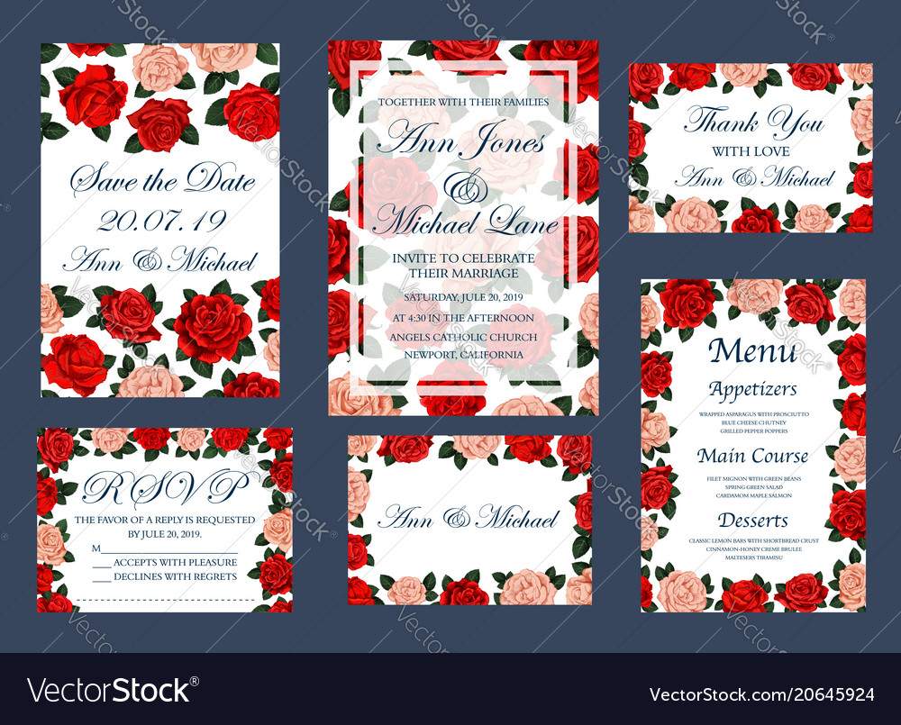 Save date wedding cards and menu Royalty Free Vector Image