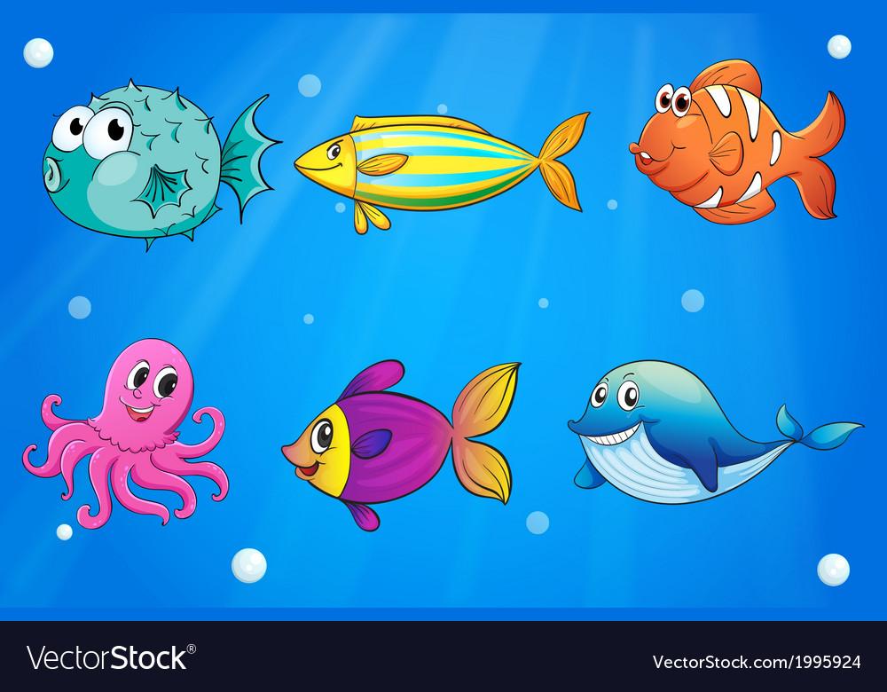 sea creatures under the deep sea royalty free vector image