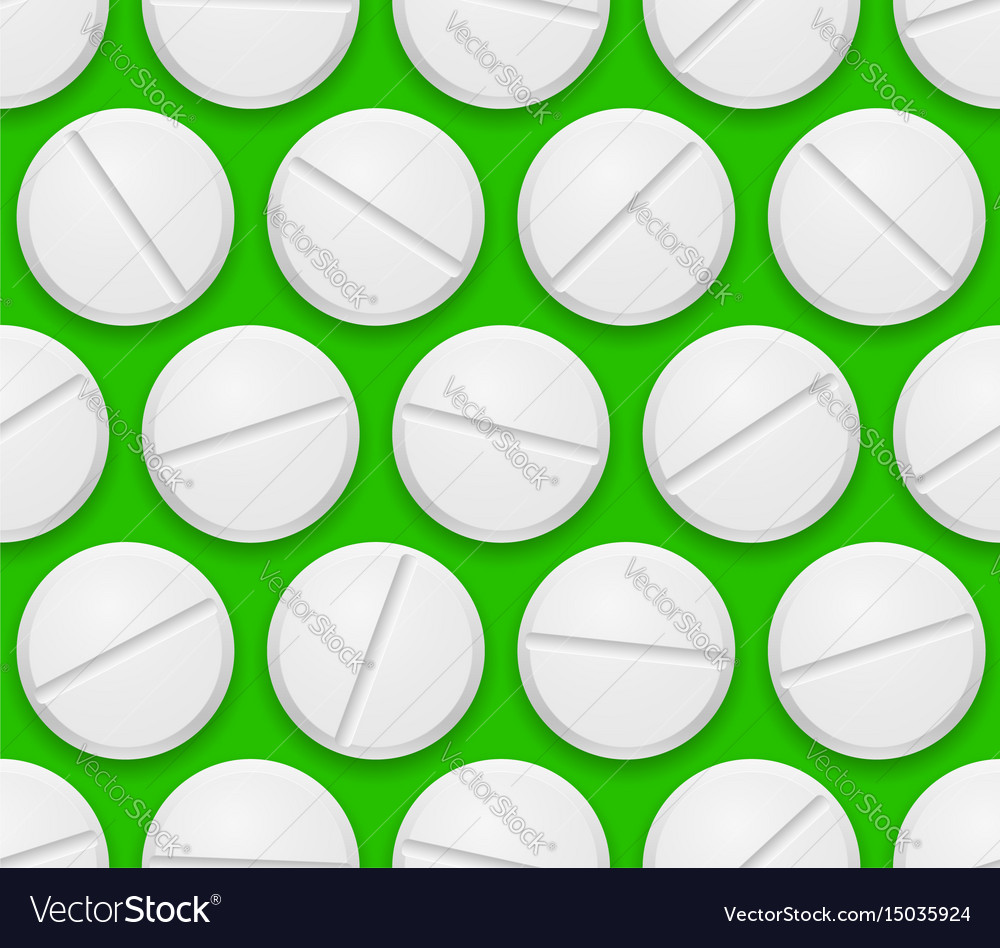 Seamless texture realistic pills on green