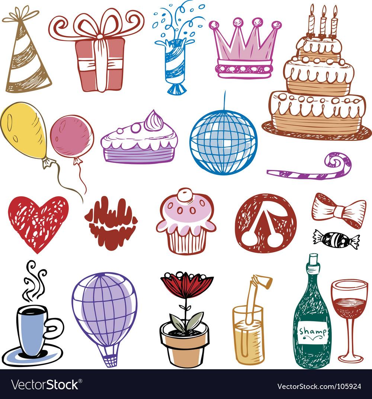 Set of birthday doodles vector image