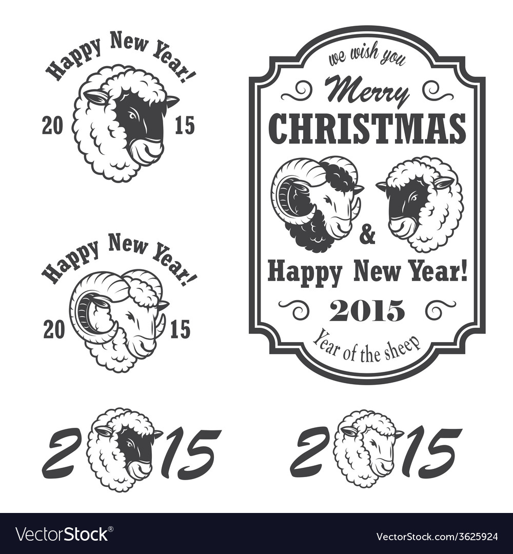 Set of new year and christmas emblems