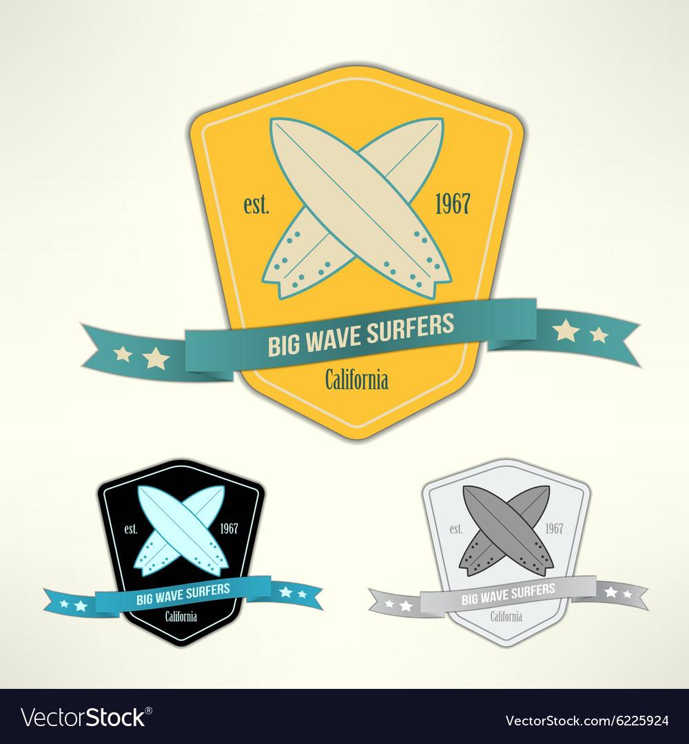 Set of surf badges T-shirt surfboard vector image