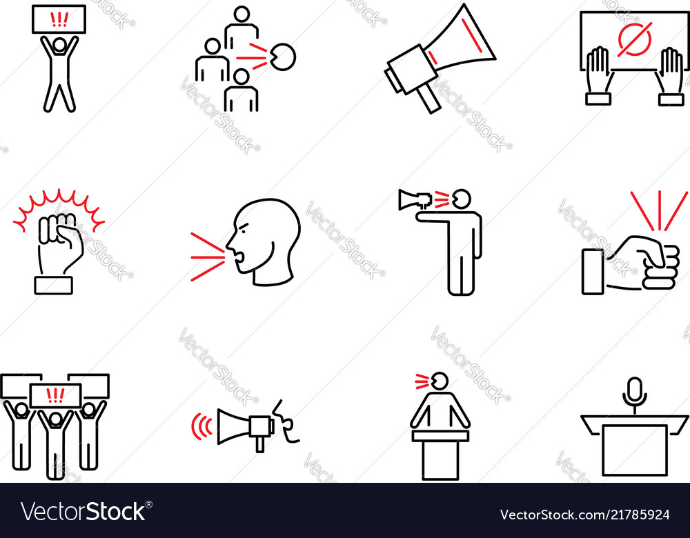 Speak out outline icon collection set
