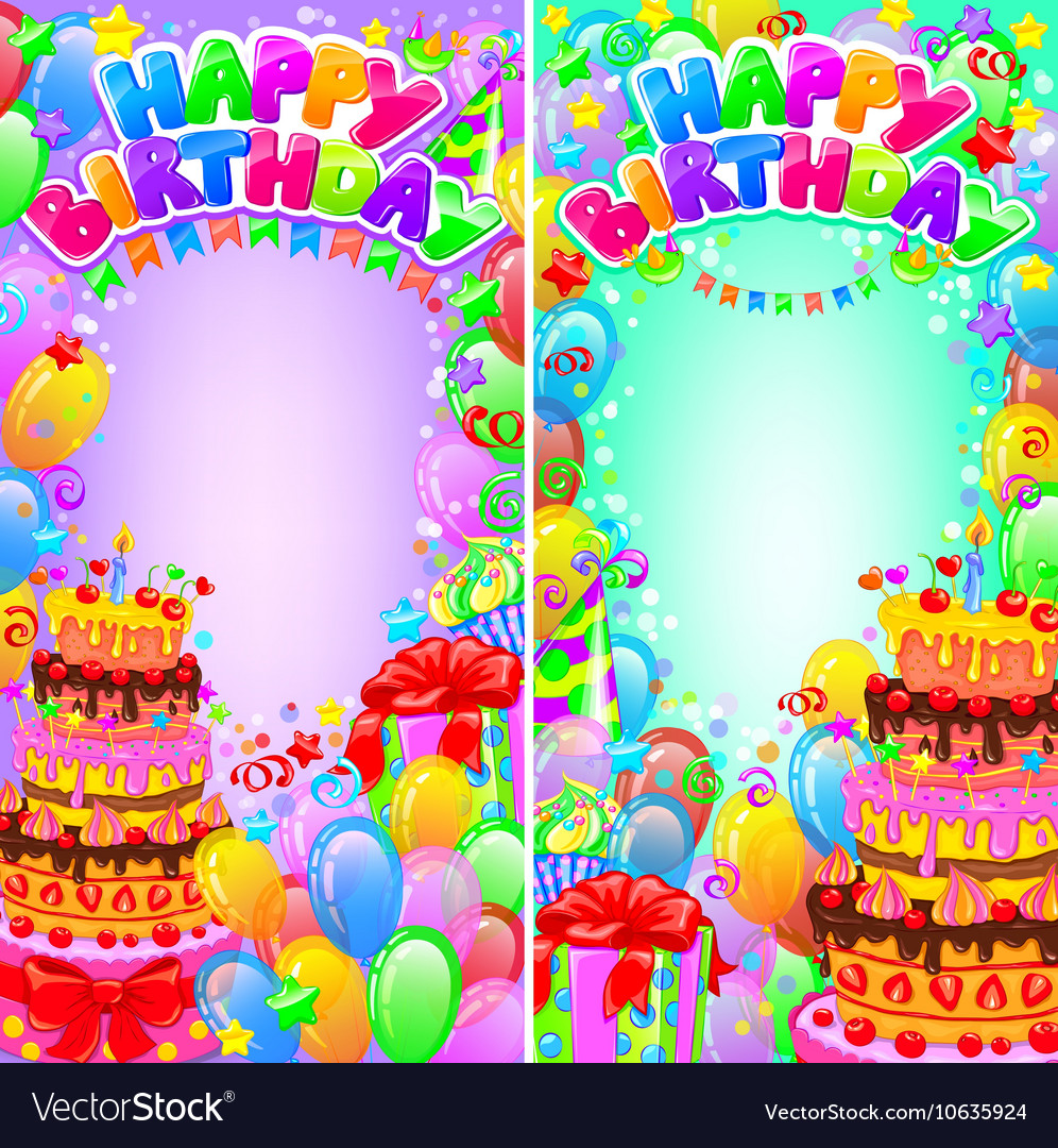 Vertical banner birthday bright with space for