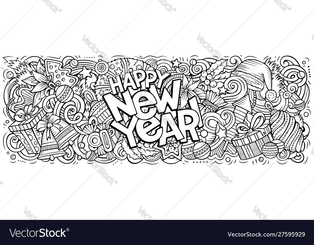 2020 doodles new year objects and