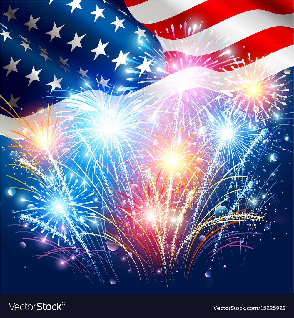 American flag with colored fireworks