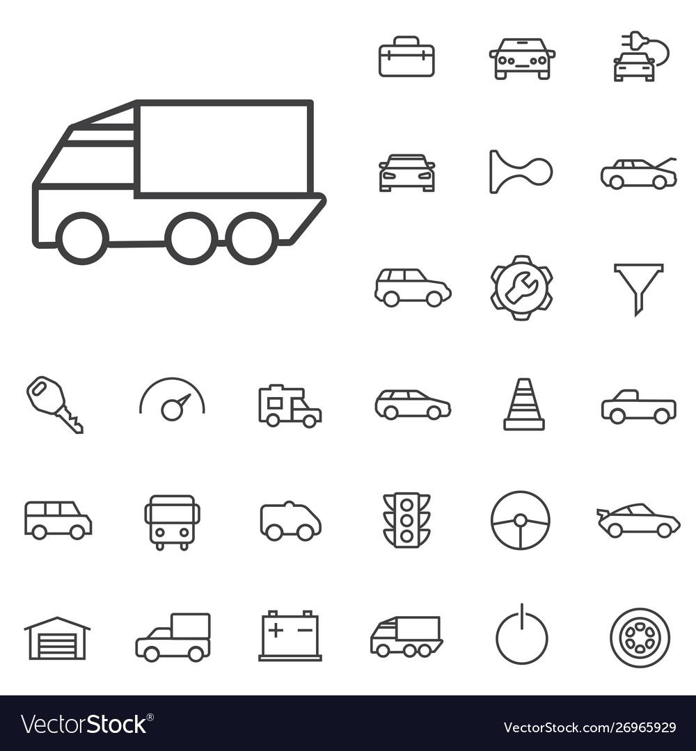 Auto outline thin flat digital icon set