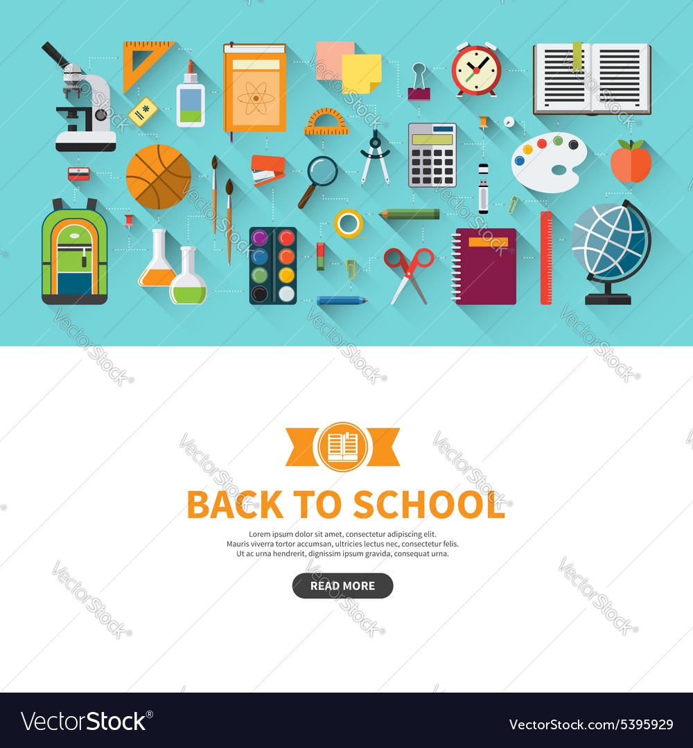 Back to school flat design banner