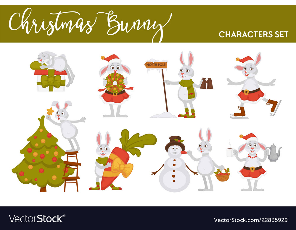 Christmas bunny rabbit santa cartoon character