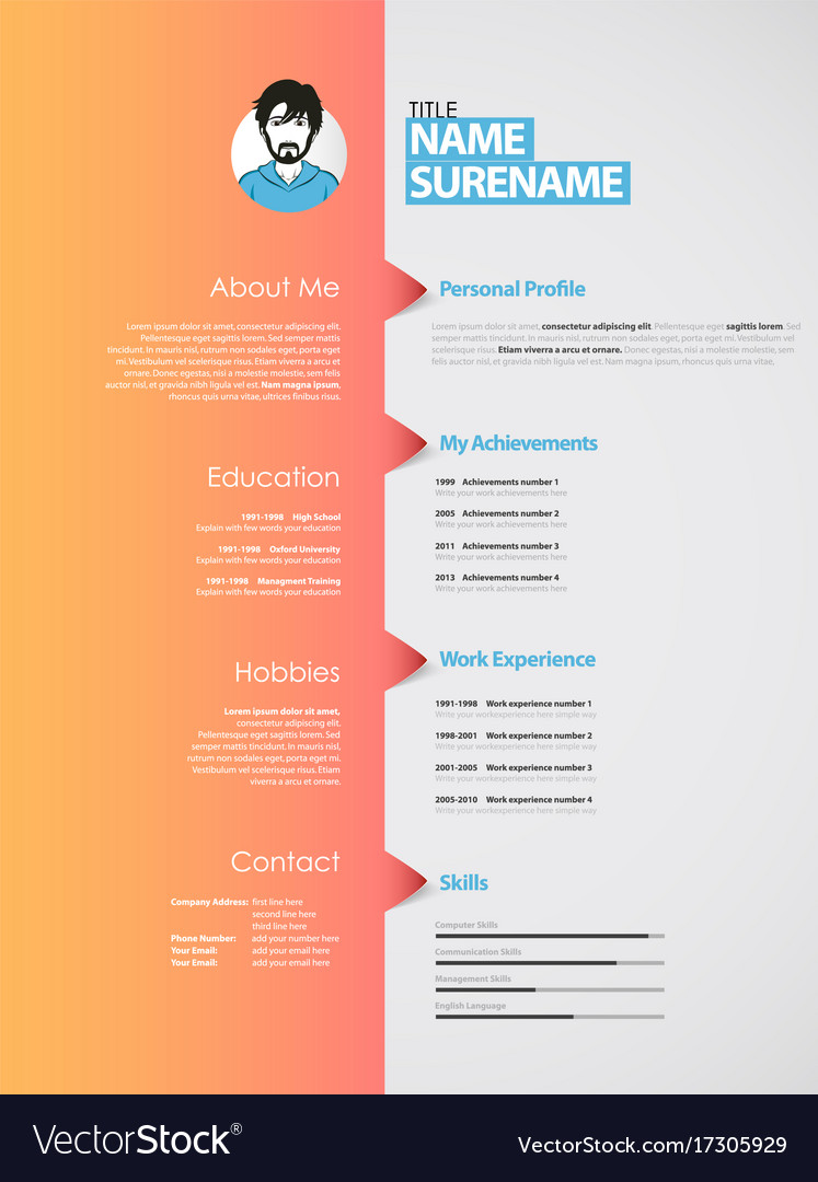Creative Curriculum Vitae Template With Orange Vector Image