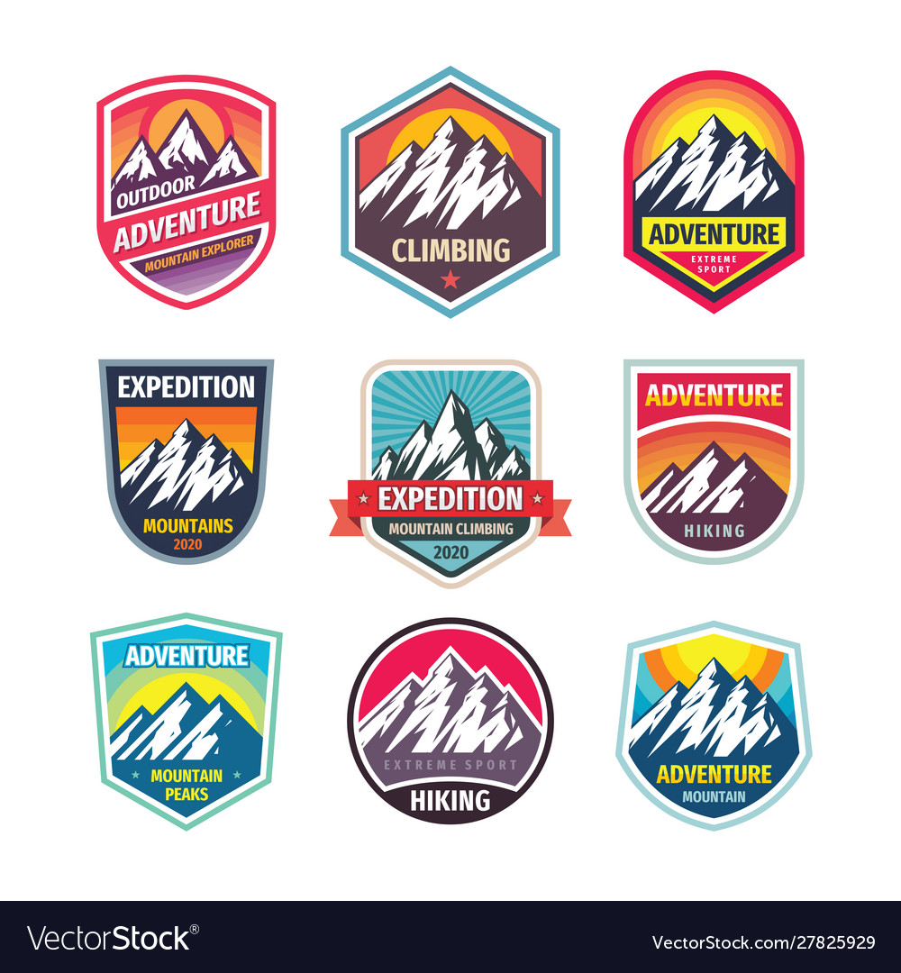 Mountain climbing - design logo badge set