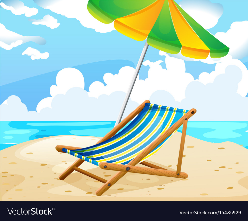 Ocean scene with seat and umbrella on the beach vector image