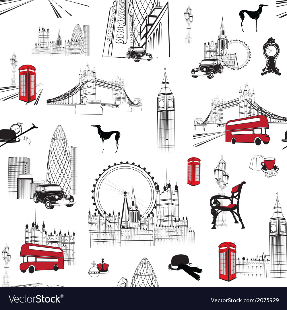 Seamless pattern with English miniatures vector image