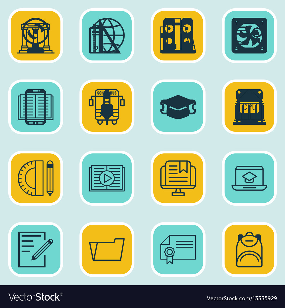 Set of 16 education icons includes taped book