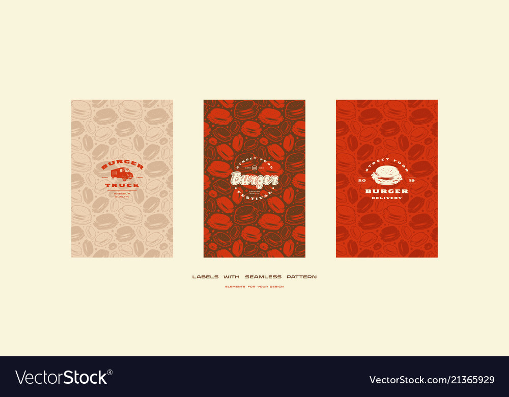 Set of menu cover and seamless pattern for burger