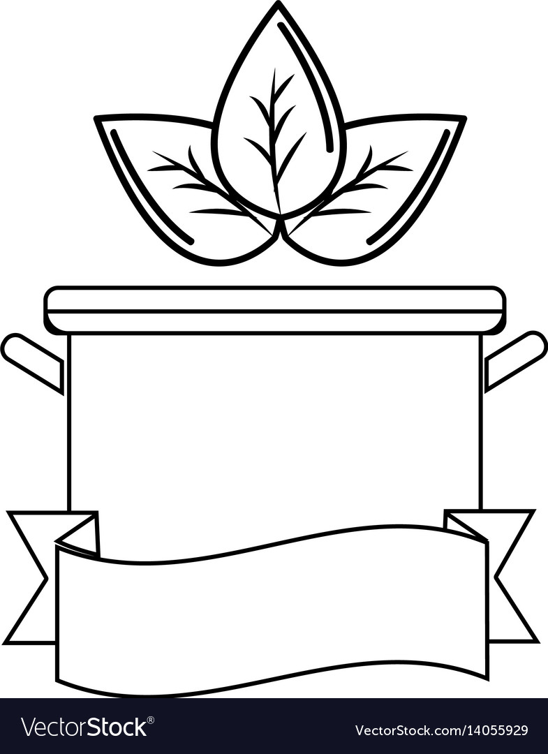 Silhouette pot kitchen with leaves and ribbon