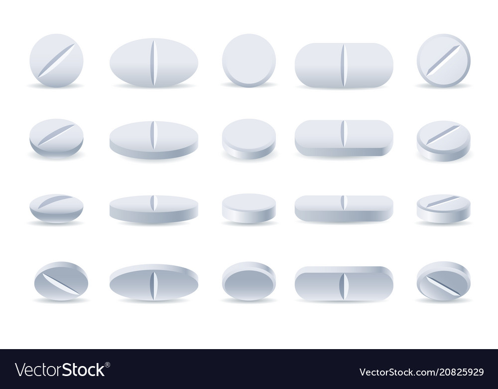 White medicine tablets and pills vector image