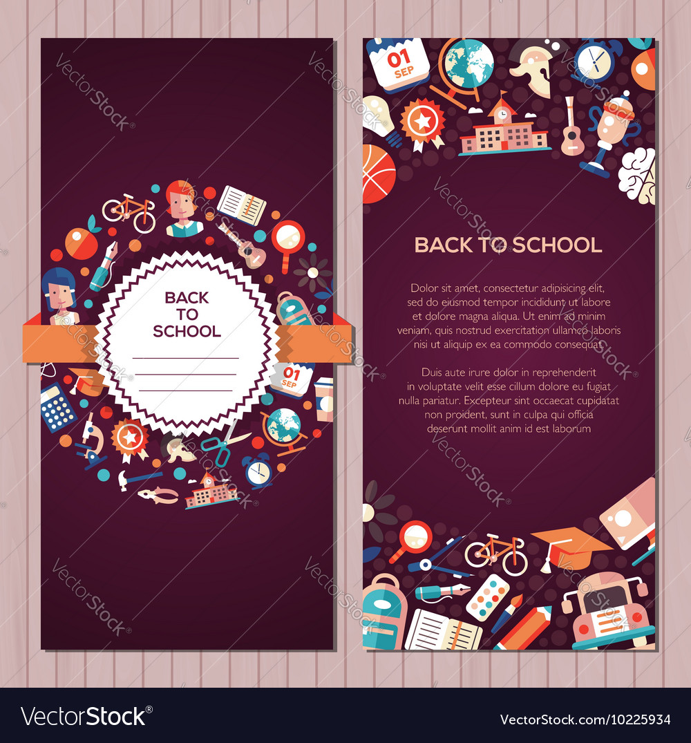 Back to school flat design icons postcard template
