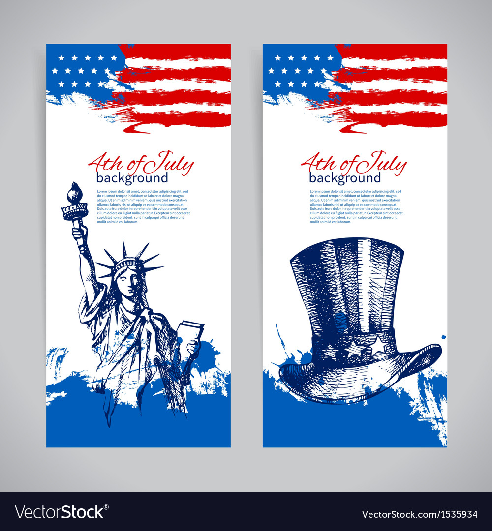 Banners 4th july backgrounds with american flag