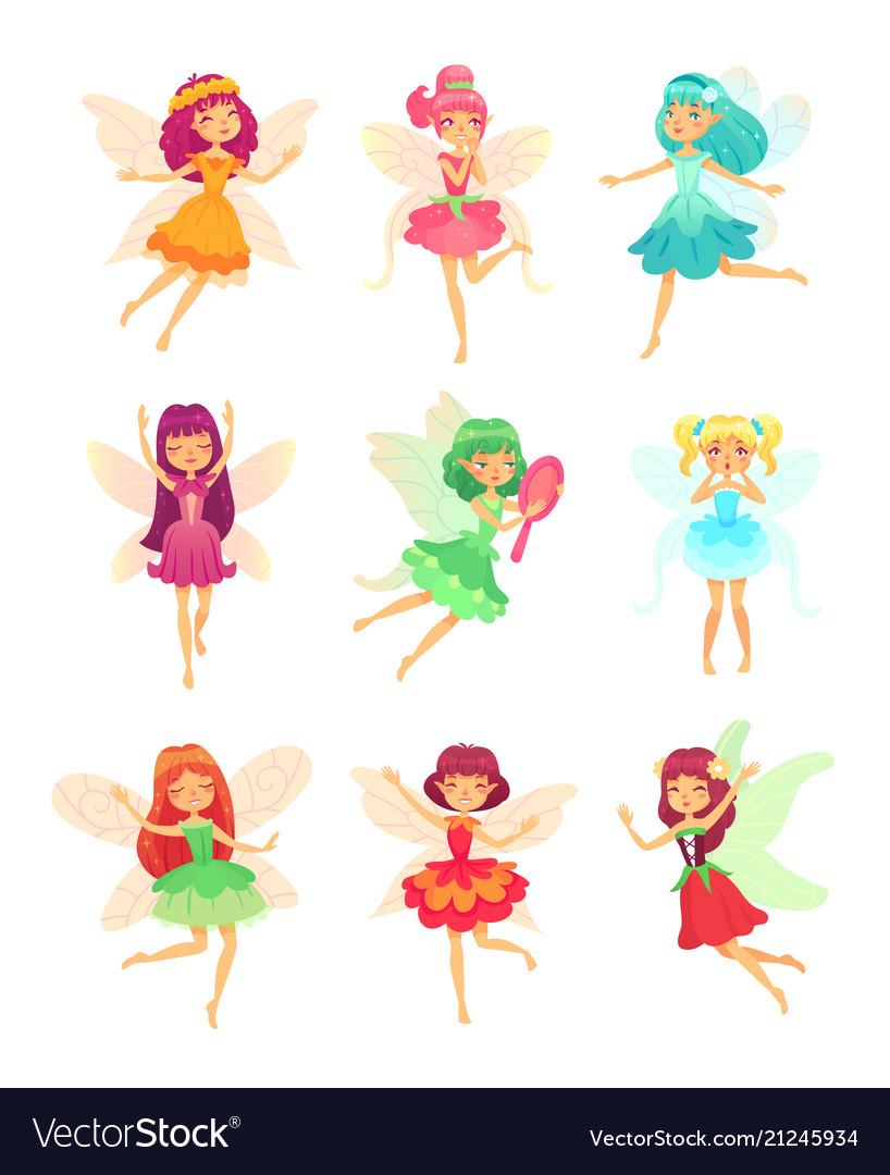 Cartoon fairy girls cute fairies dancing in
