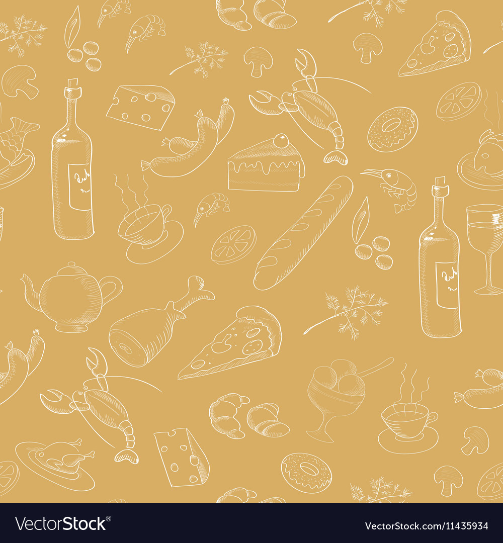 Collection of hand-drawn food Seamless pattern