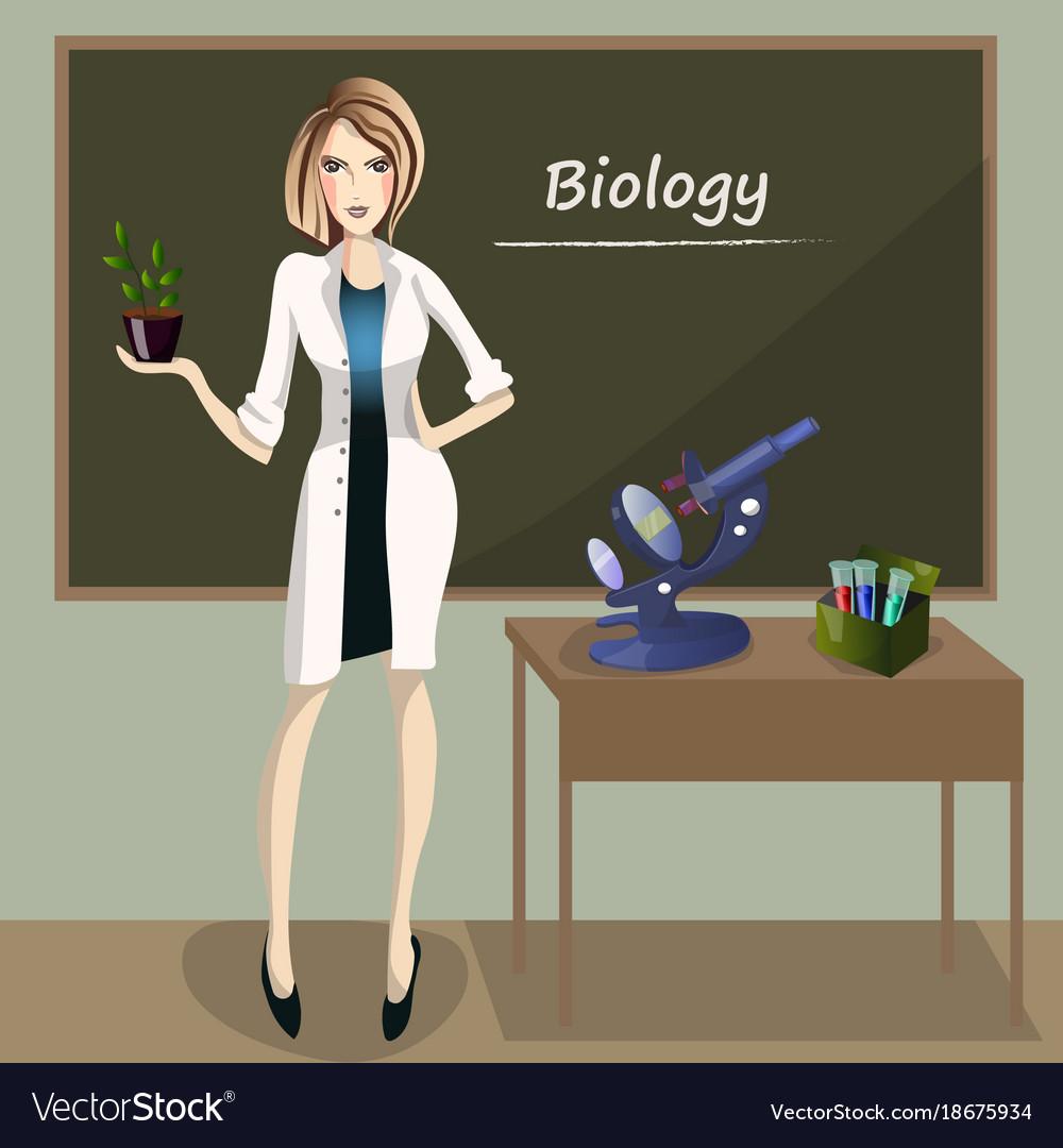 Female teacher in front of blackboard