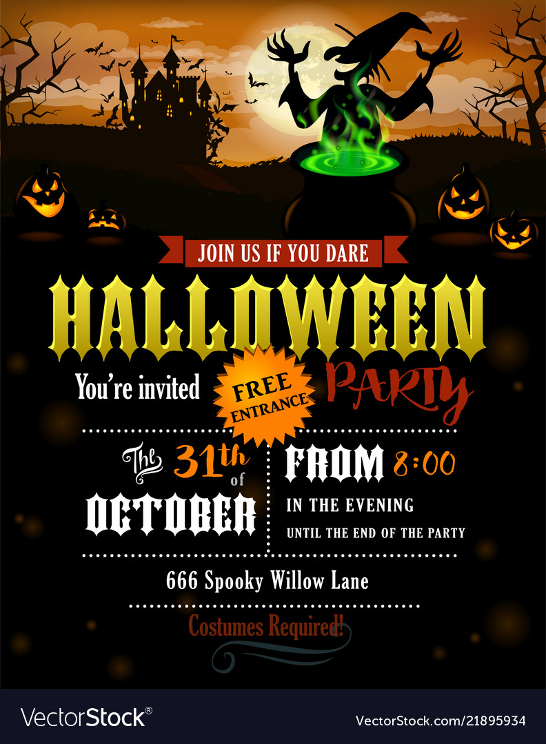 Halloween party invitation with castle