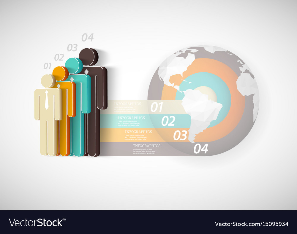 Infographic template with four people stripes and vector image