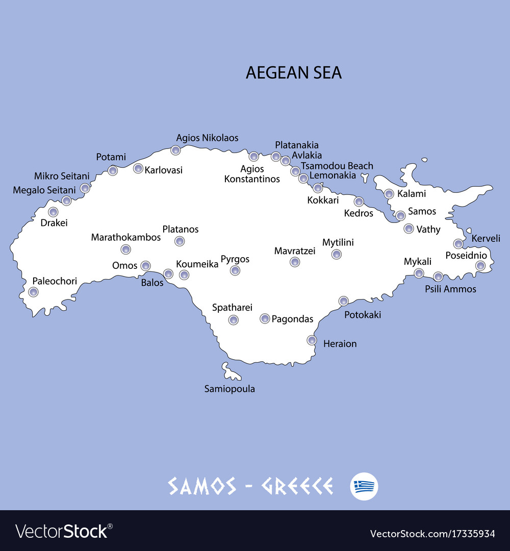 Island of samos in greece white map and blue Vector Image