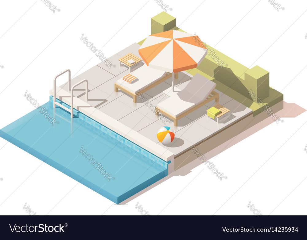 Isometric low poly swimming pool Royalty Free Vector Image
