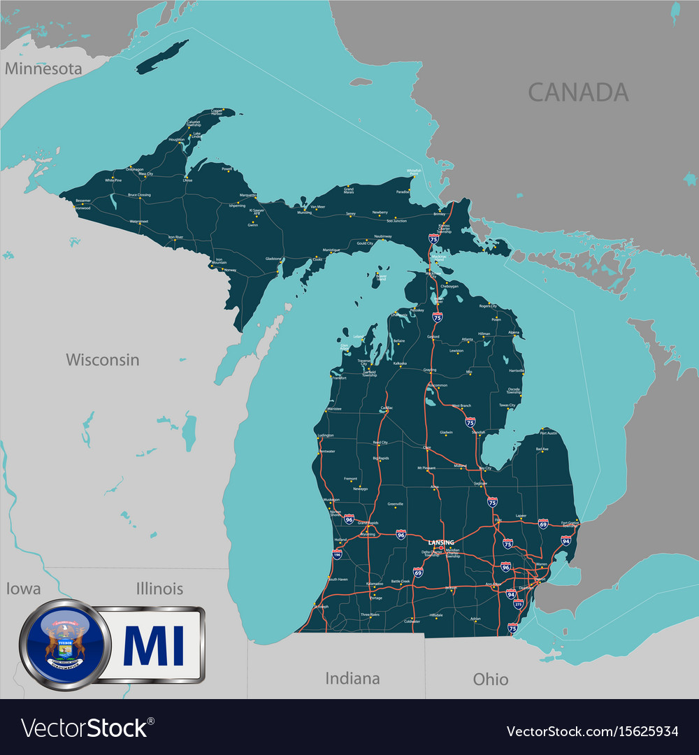 Map of state michigan usa Royalty Free Vector Image