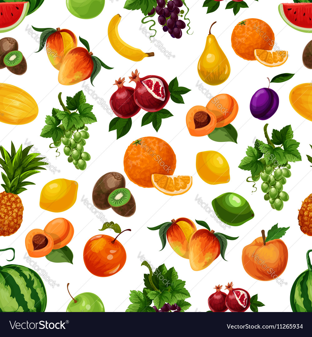 Pattern fresh fruits with leaves
