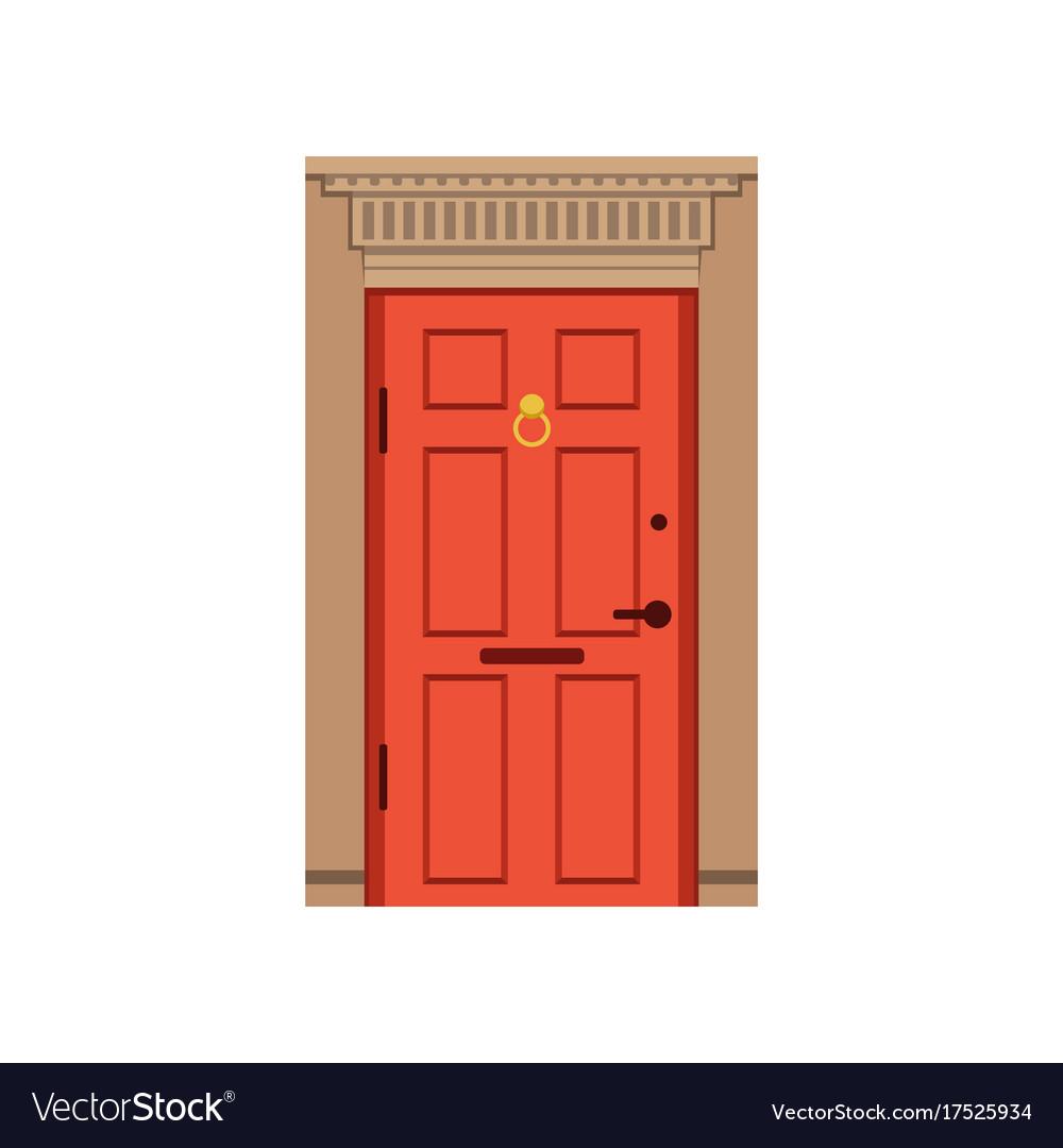 Red Front Door To House Closed Elegant Door Vector Image