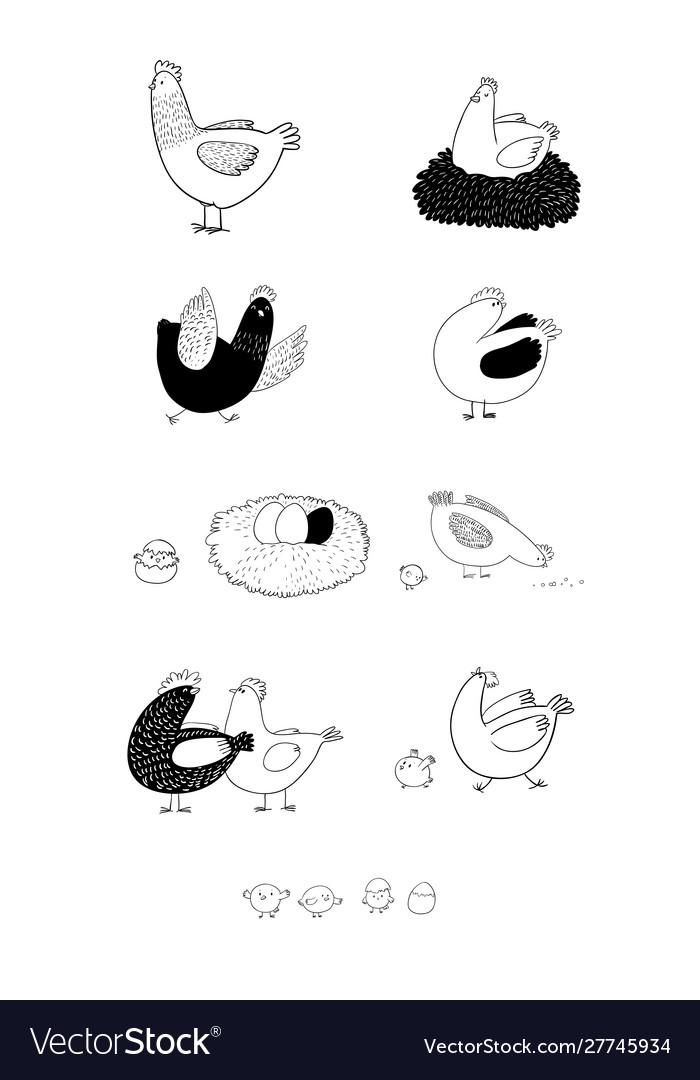 Set with cartoon cute chicken nest and eggs farm