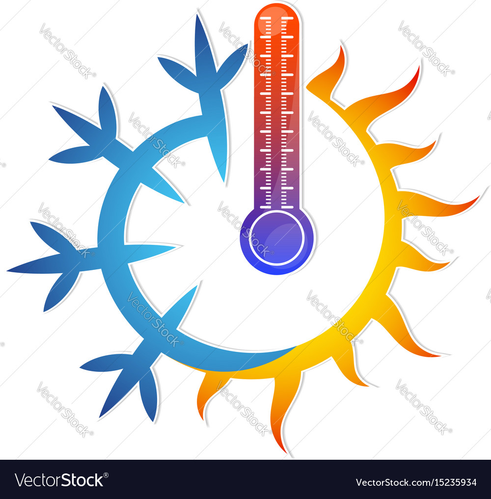 Sun snowflake and thermometer