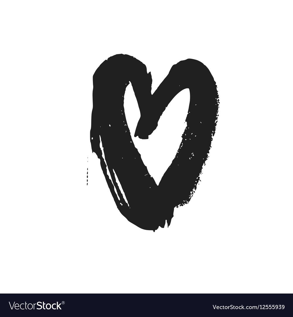 Bold Linear Drawn Black Heart Symbol Royalty Free Vector