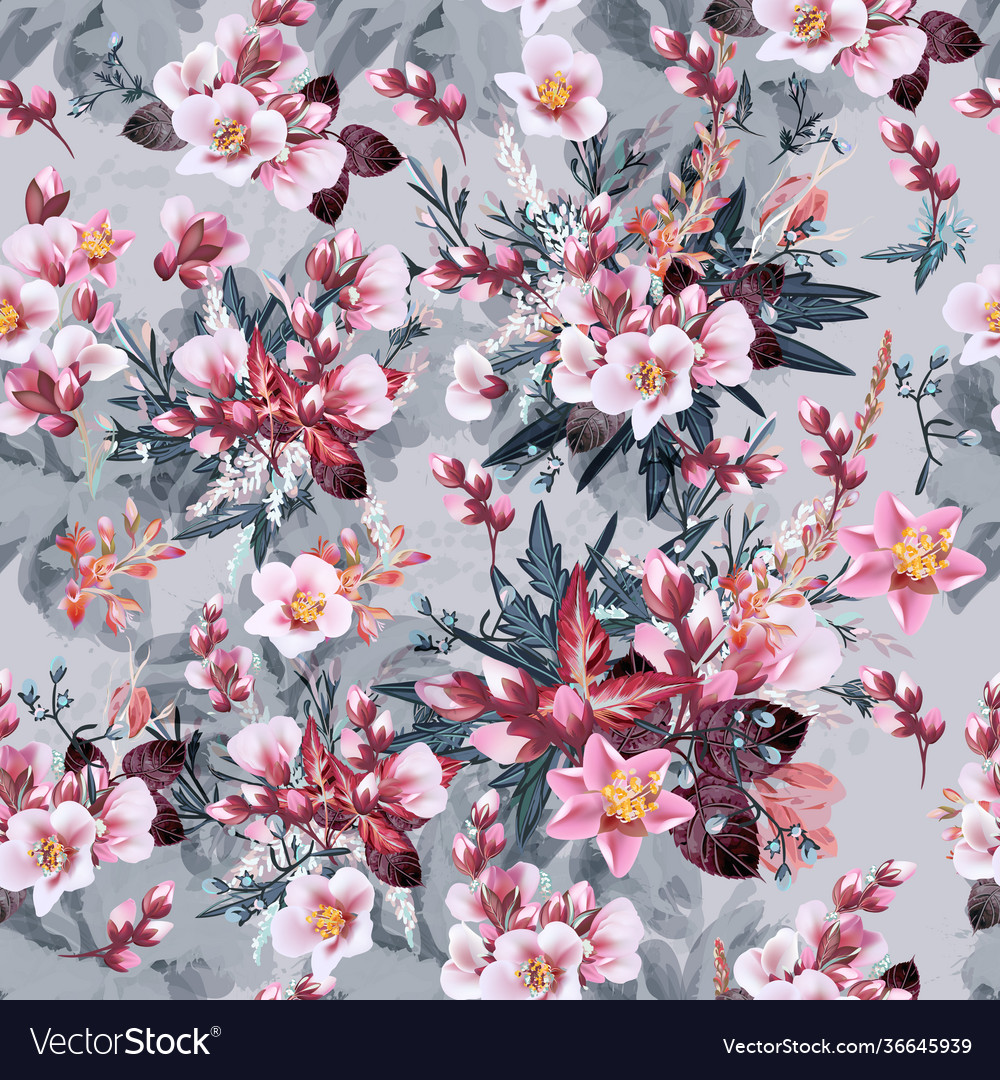 Botanical pattern with pink cherry flowers