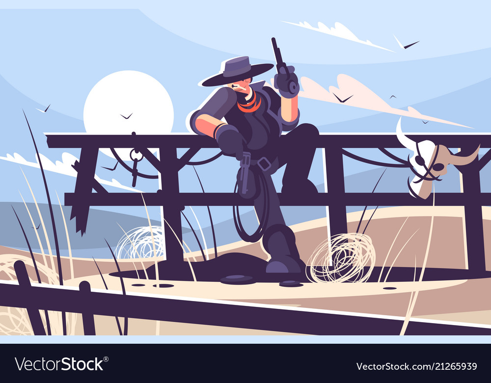 Brutal cowboy with hat and revolver