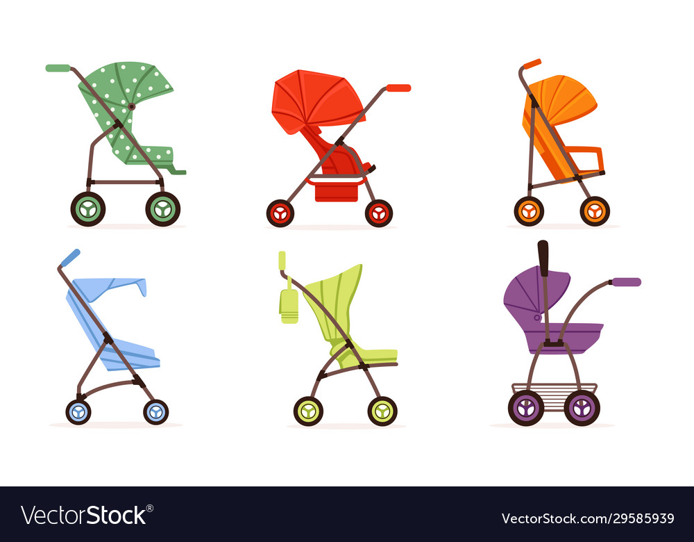 Colorful baby strollers collection different