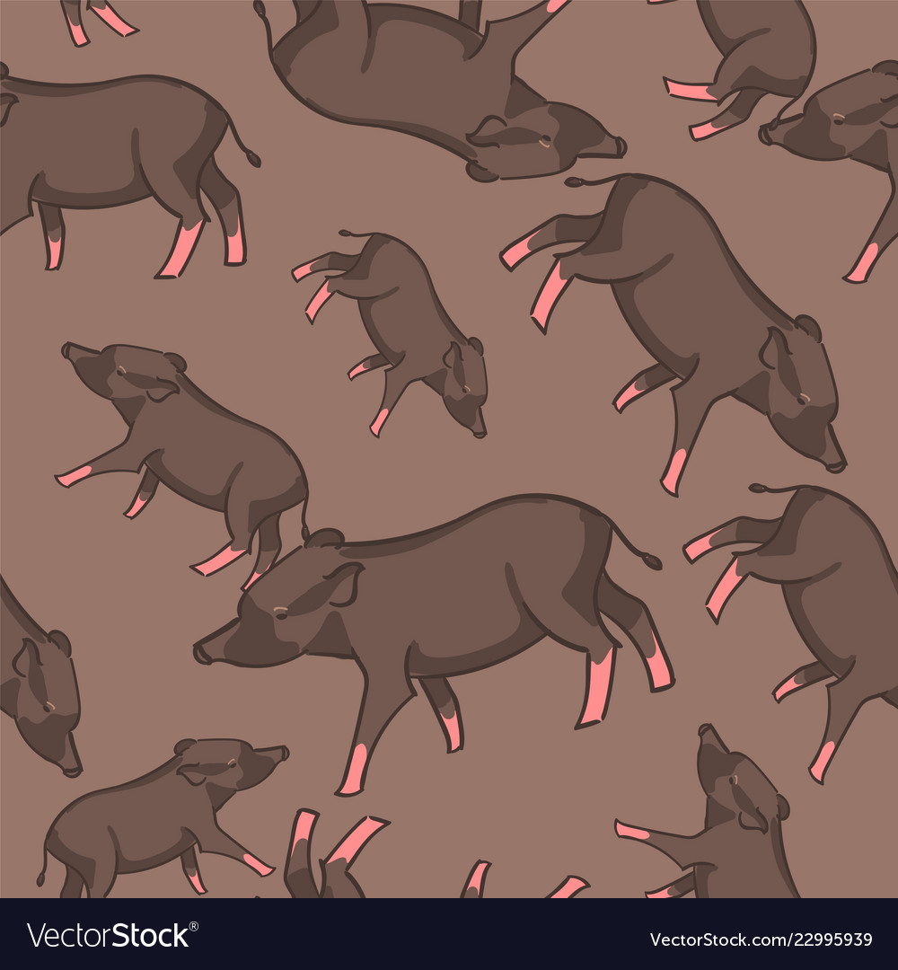 Cute pig doodle seamless pattern