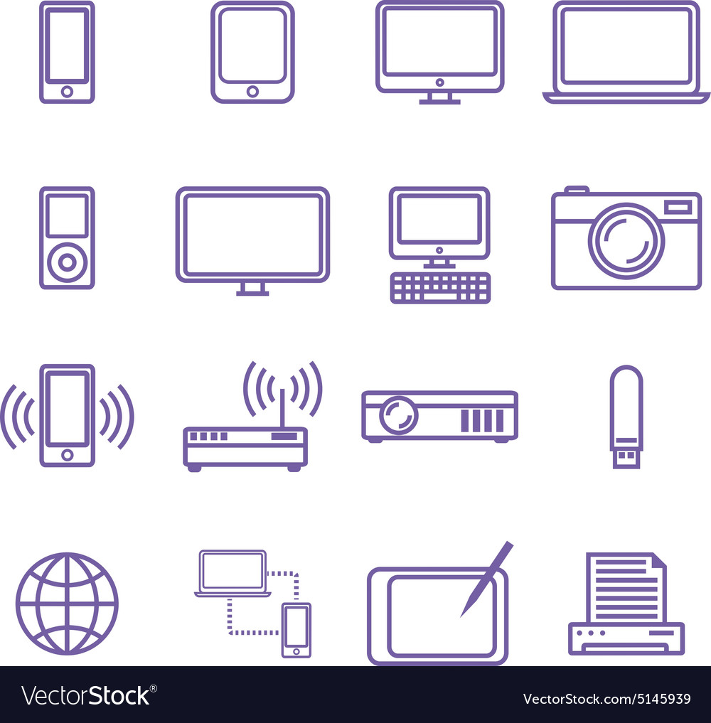 Gadgets and technology icons set linear style